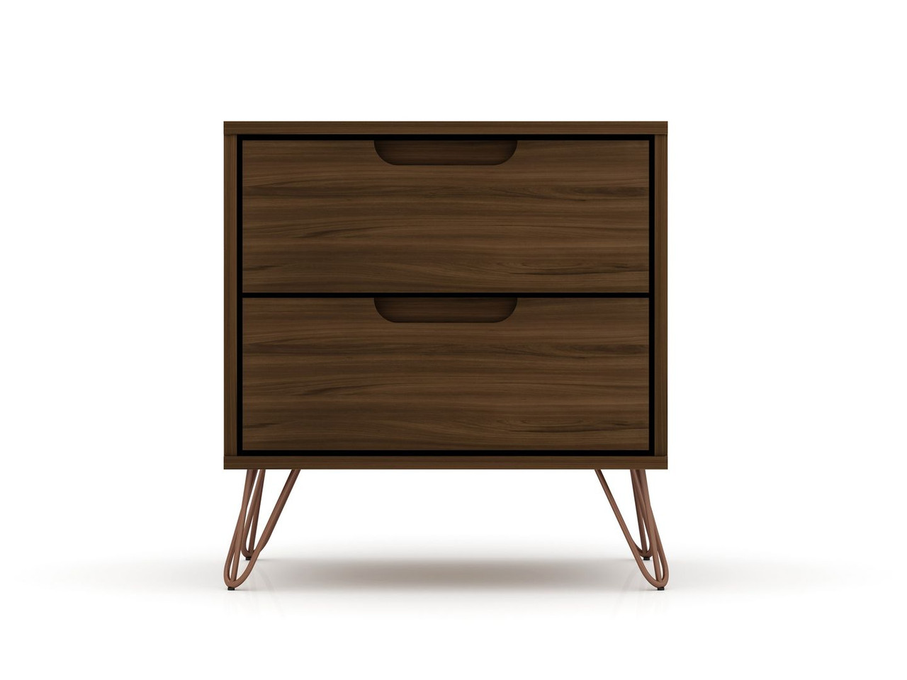 Manhattan Comfort Rockefeller 2 0 Mid Century Modern Nightstand With 2 Drawer In Brown Furniture East Inc