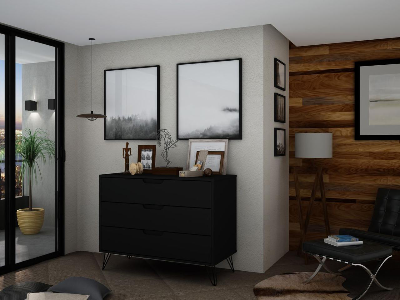Image of: Manhattan Comfort Rockefeller Mid Century Modern Dresser With 3 Drawers In Black Furniture East Inc