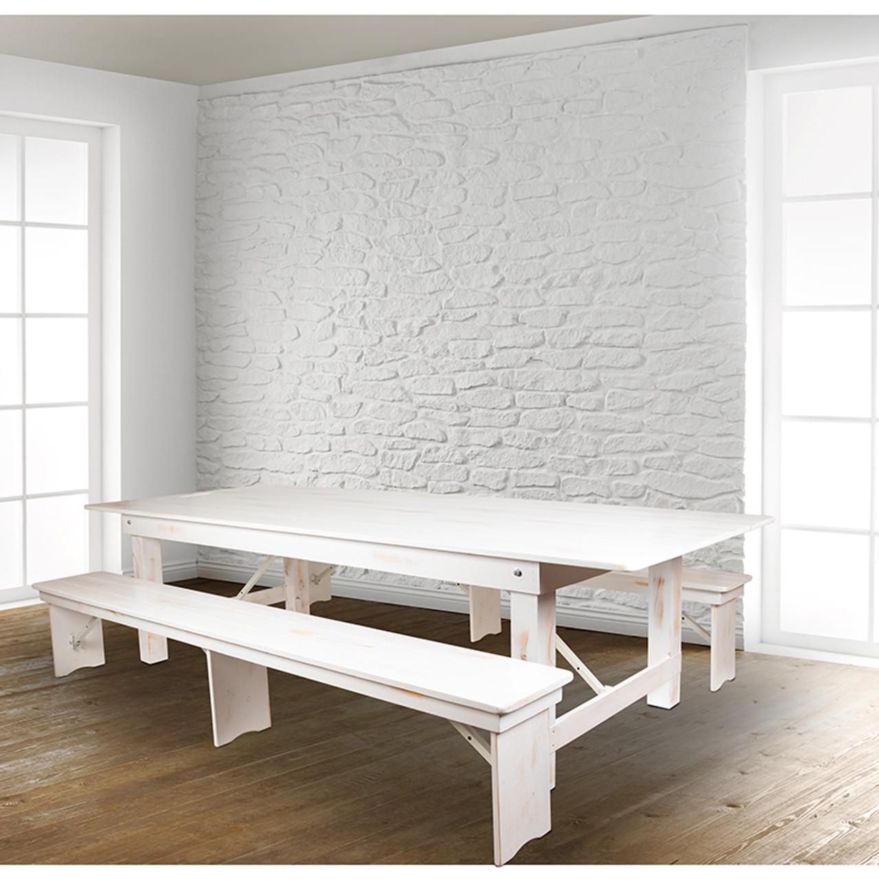 9 X40 White Table 2 Bench Set Xa Farm 6 Wh Gg Furniture East Inc