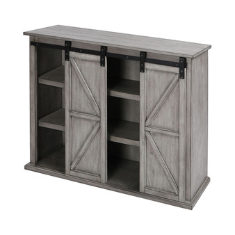 Barn Door Farmhouse TV Console in Grey