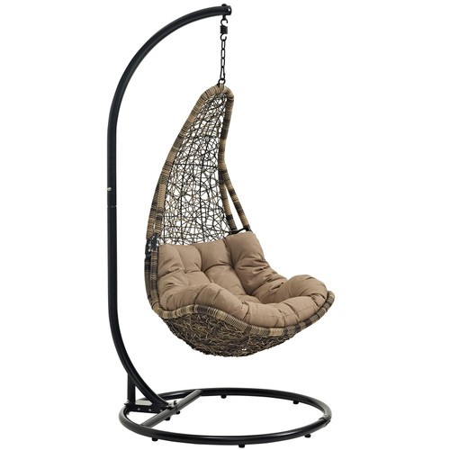 Abate Outdoor Patio Swing Chair With Stand Black Mocha EEI-2276-BLK-MOC-SET
