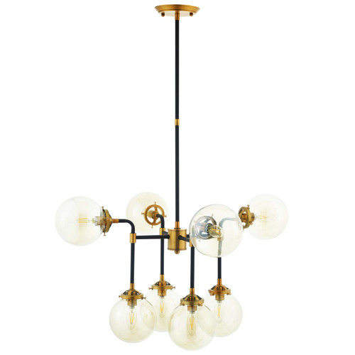 Ambition Amber Glass And Antique Brass 8 Light Pendant Chandelier  EEI-2883