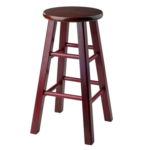 "Ivy 24"" Counter Stool Rustic Maroon w/ Walnut Seat"