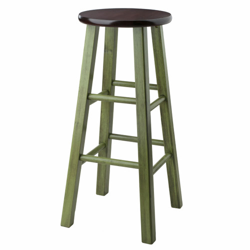 "Ivy 29"" Bar Stool Rustic Green w/ Walnut Seat"