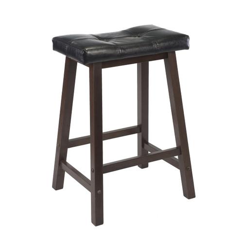 "Mona 24"" Cushion Saddle Seat Stool, Black Faux Leather, Wood Legs, RTA"