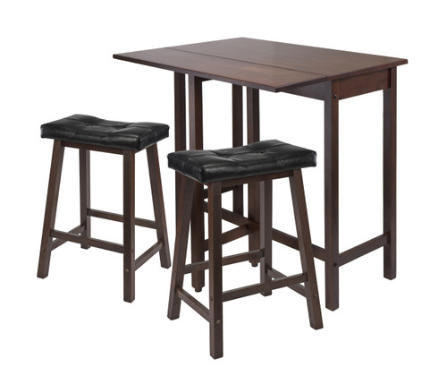 3-Pc Lynnwood Drop Leaf Kitchen Table with 2 Cushion Saddle Seat Stools