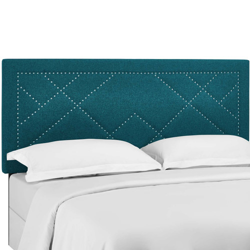 Reese Nailhead King and California King Upholstered Linen Fabric Headboard Teal MOD-5845-TEA