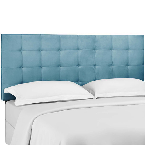 Paisley Tufted King and California King Upholstered Performance Velvet Headboard Sea Blue MOD-5856-SEA