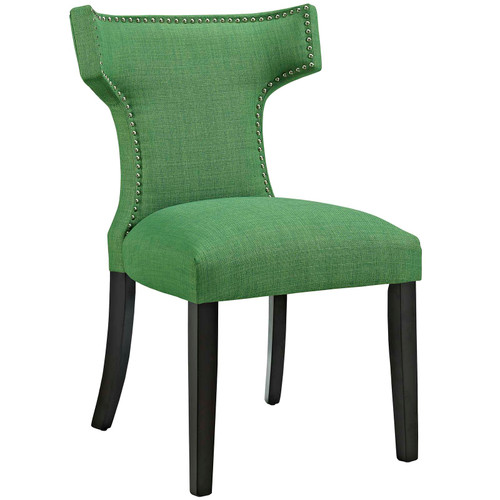 Curve Fabric Dining Chair Kelly Green EEI-2221-GRN