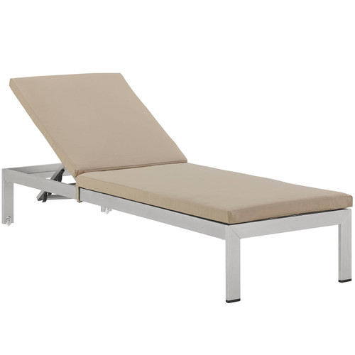 Shore Outdoor Patio Aluminum Chaise with Cushions Silver Beige EEI-2660-SLV-BEI