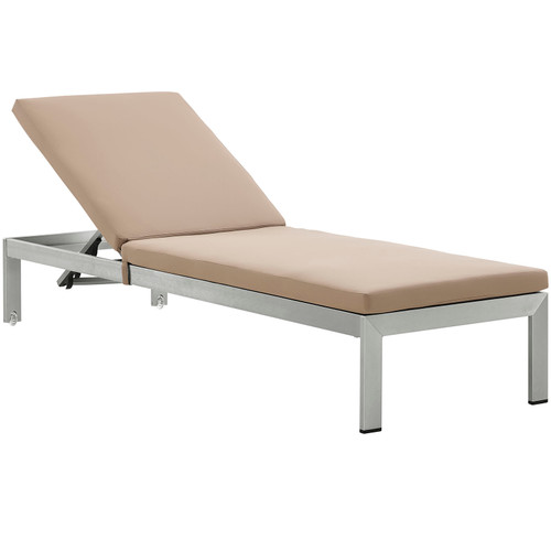 Shore Outdoor Patio Aluminum Chaise with Cushions Silver Mocha EEI-2660-SLV-MOC