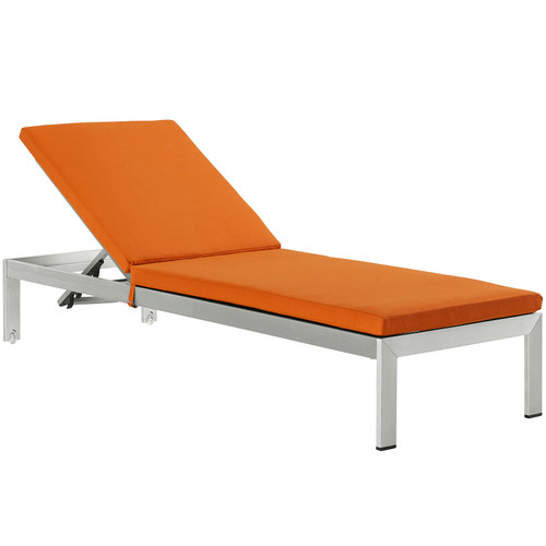 Shore Outdoor Patio Aluminum Chaise with Cushions Silver Orange EEI-2660-SLV-ORA