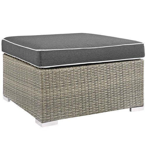 Repose Outdoor Patio Upholstered Fabric Ottoman Light Gray Charcoal EEI-2962-LGR-CHA
