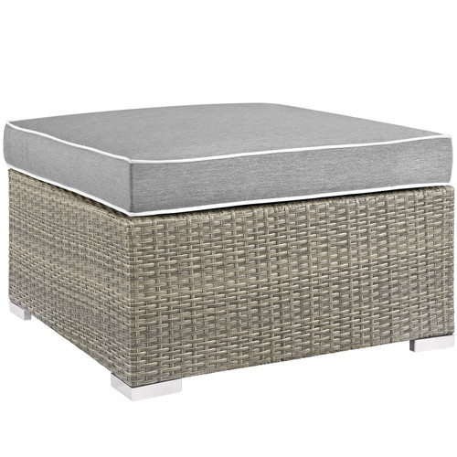 Repose Outdoor Patio Upholstered Fabric Ottoman Light Gray Gray EEI-2962-LGR-GRY