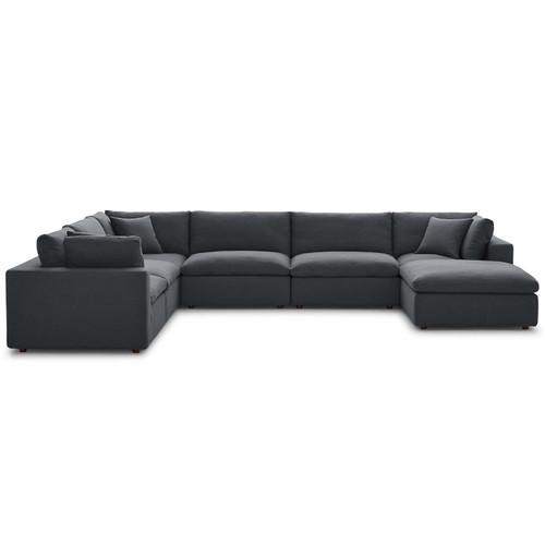 Commix Down Filled Overstuffed 7 Piece Sectional Sofa Set Gray EEI-3364-GRY