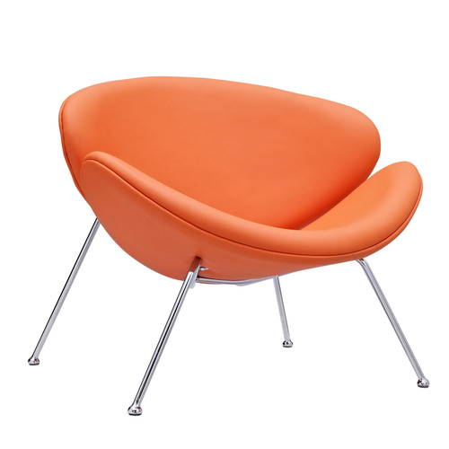 Nutshell Upholstered Vinyl Lounge Chair Orange EEI-809-ORA