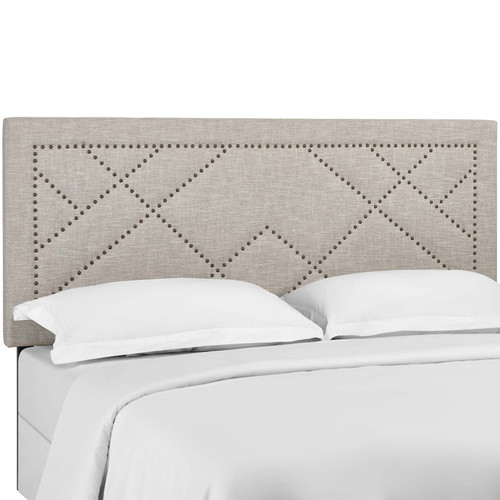 Reese Nailhead King and California King Upholstered Linen Fabric Headboard Beige MOD-5845-BEI