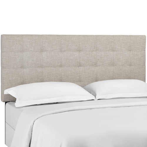Paisley Tufted King and California King Upholstered Linen Fabric Headboard Beige MOD-5855-BEI