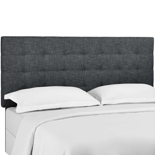 Paisley Tufted King and California King Upholstered Linen Fabric Headboard Gray MOD-5855-GRY