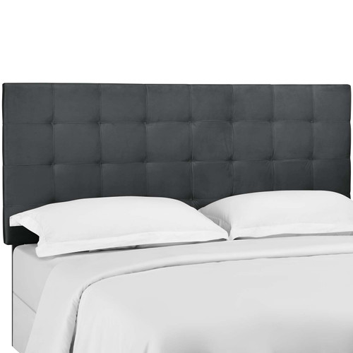 Paisley Tufted King and California King Upholstered Performance Velvet Headboard Gray MOD-5856-GRY