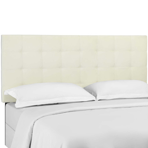 Paisley Tufted King and California King Upholstered Performance Velvet Headboard Ivory MOD-5856-IVO
