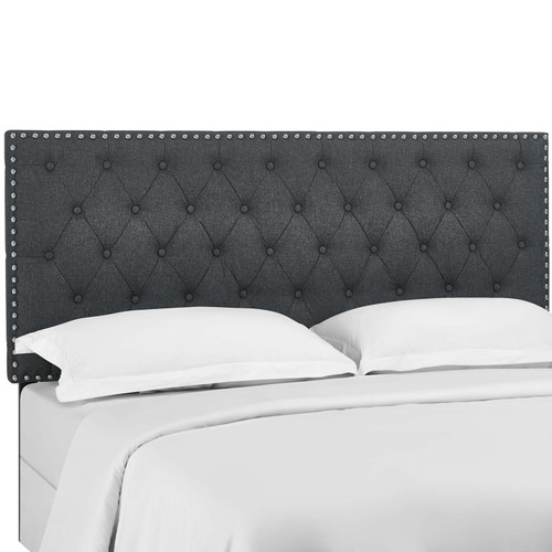 Helena Tufted Full / Queen Upholstered Linen Fabric Headboard Gray MOD-5860-GRY