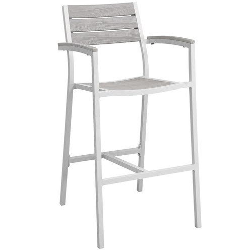 Maine Outdoor Patio Bar Stool White Light Gray EEI-1510-WHI-LGR