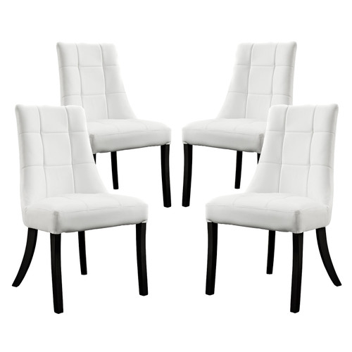Noblesse Dining Chair Vinyl Set of 4 White EEI-1678-WHI