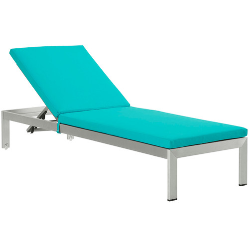 Shore Outdoor Patio Aluminum Chaise with Cushions Silver Turquoise EEI-2660-SLV-TRQ