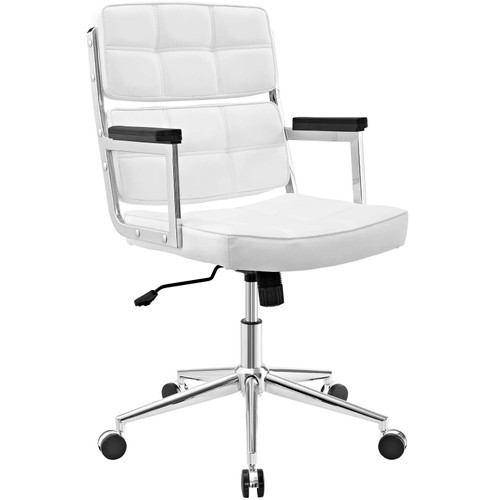 Portray Highback Upholstered Vinyl Office Chair White EEI-2685-WHI