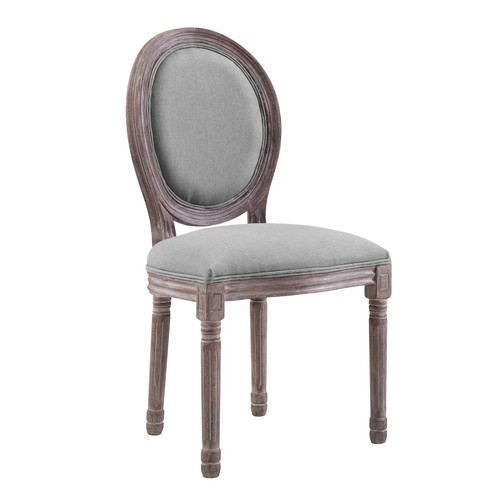 Emanate Vintage French Upholstered Fabric Dining Side Chair Light Gray EEI-2821-LGR