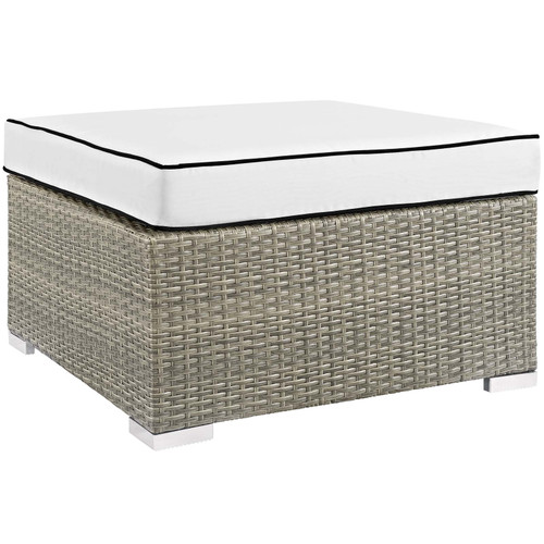 Repose Outdoor Patio Upholstered Fabric Ottoman Light Gray White EEI-2962-LGR-WHI