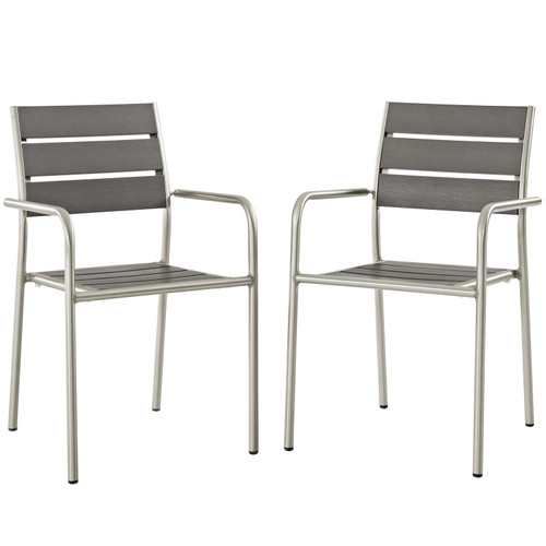 Shore Outdoor Patio Aluminum Dining Rounded Armchair Set of 2 Silver Gray EEI-3203-SLV-GRY-SET