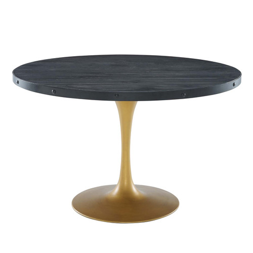 """Drive 48"""" Round Wood Top Dining Table Black Gold EEI-3585-BLK-GLD"""