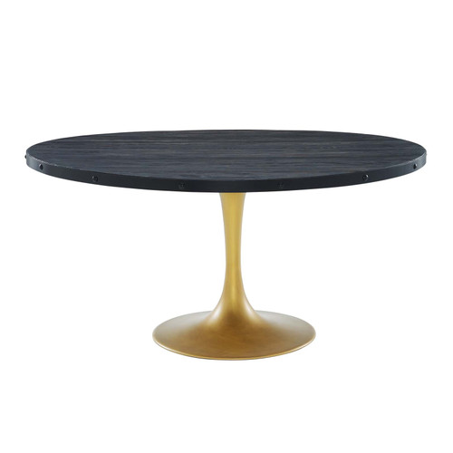 """Drive 60"""" Round Wood Top Dining Table Black Gold EEI-3587-BLK-GLD"""