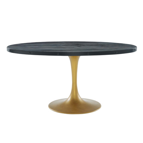 """Drive 60"""" Oval Wood Top Dining Table Black Gold EEI-3588-BLK-GLD"""