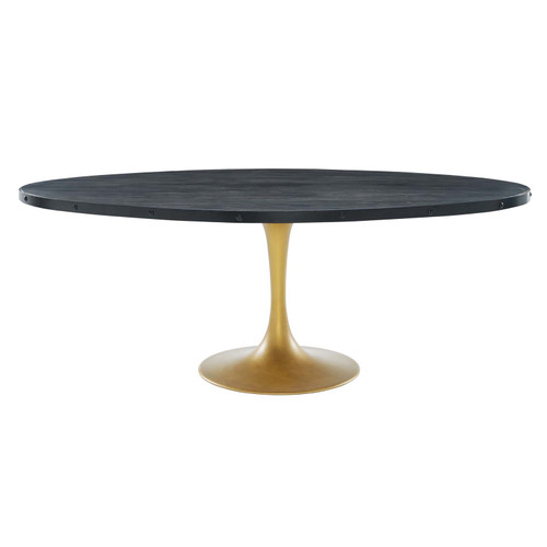 """Drive 78"""" Oval Wood Top Dining Table Black Gold EEI-3589-BLK-GLD"""