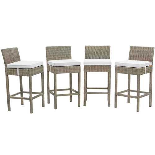 Conduit Bar Stool Outdoor Patio Wicker Rattan Set of 4 Light Gray White EEI-3602-LGR-WHI
