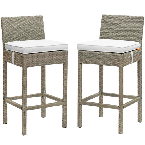 Conduit Bar Stool Outdoor Patio Wicker Rattan Set of 2 Light Gray White EEI-3604-LGR-WHI
