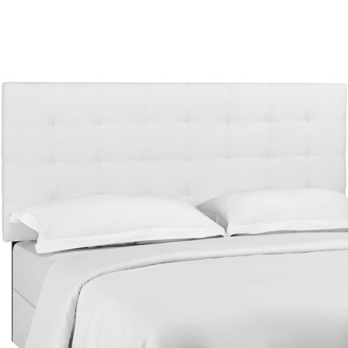 Paisley Tufted Full / Queen Upholstered Linen Fabric Headboard White MOD-5852-WHI