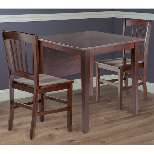 Perrone 3pc Drop Leaf Dining Table Set with Slat Back Chair  94835