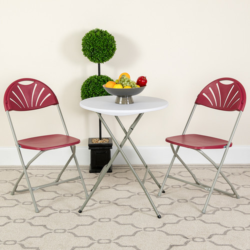 Set of 2 Burgundy Plastic Folding Chairs