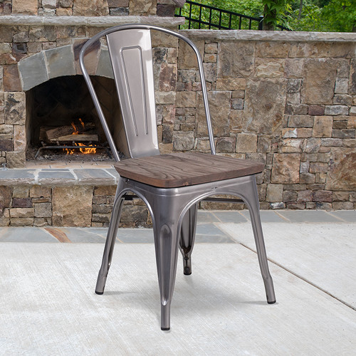 Stackable Bistro Style Chair with Wood Seat
