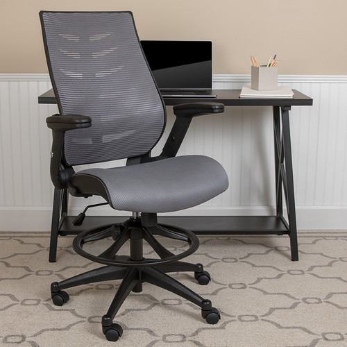 Contemporary Drafting Stool with Height Adjustable Flip-Up Arms