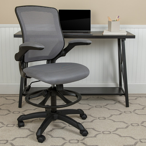 Contemporary Drafting Stool with Flip-Up Arms