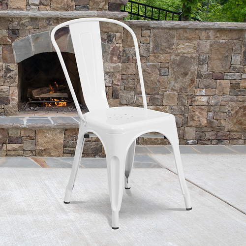 Stackable Metal Dining Chair for Indoor or Outdoor Use