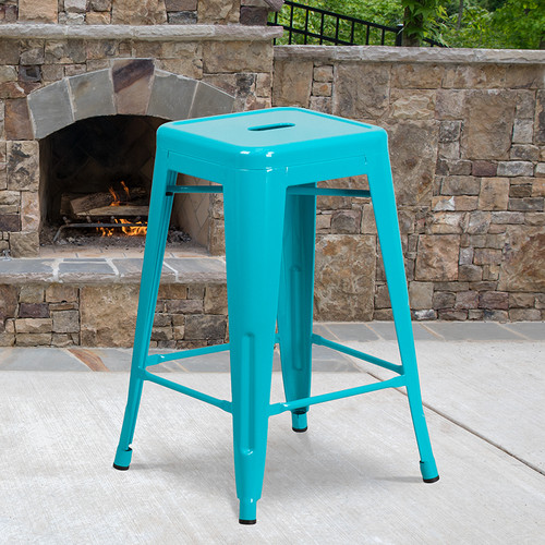 Industrial Backless Counter Height Stool for Indoor or Outdoor Use