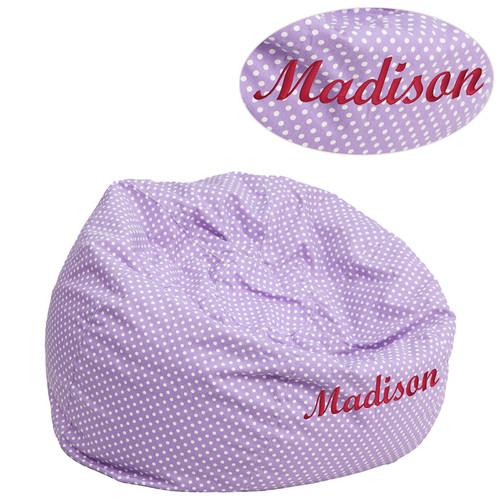 TXT Lavendr Dot Bean Bag Chair DG-BEAN-SMALL-DOT-PUR-TXTEMB-GG