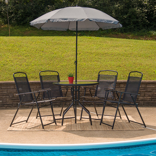 Glass Patio Table Set with Umbrella and 4 Folding Textilene Chairs