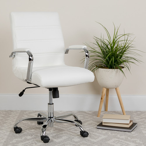 Contemporary Executive Office Chair with Padded Chrome Arms